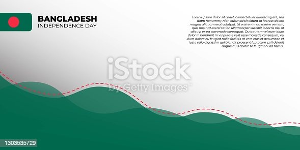 istock Bangladesh Independence day. Green and white abstract background with red dotted line design 1303535729