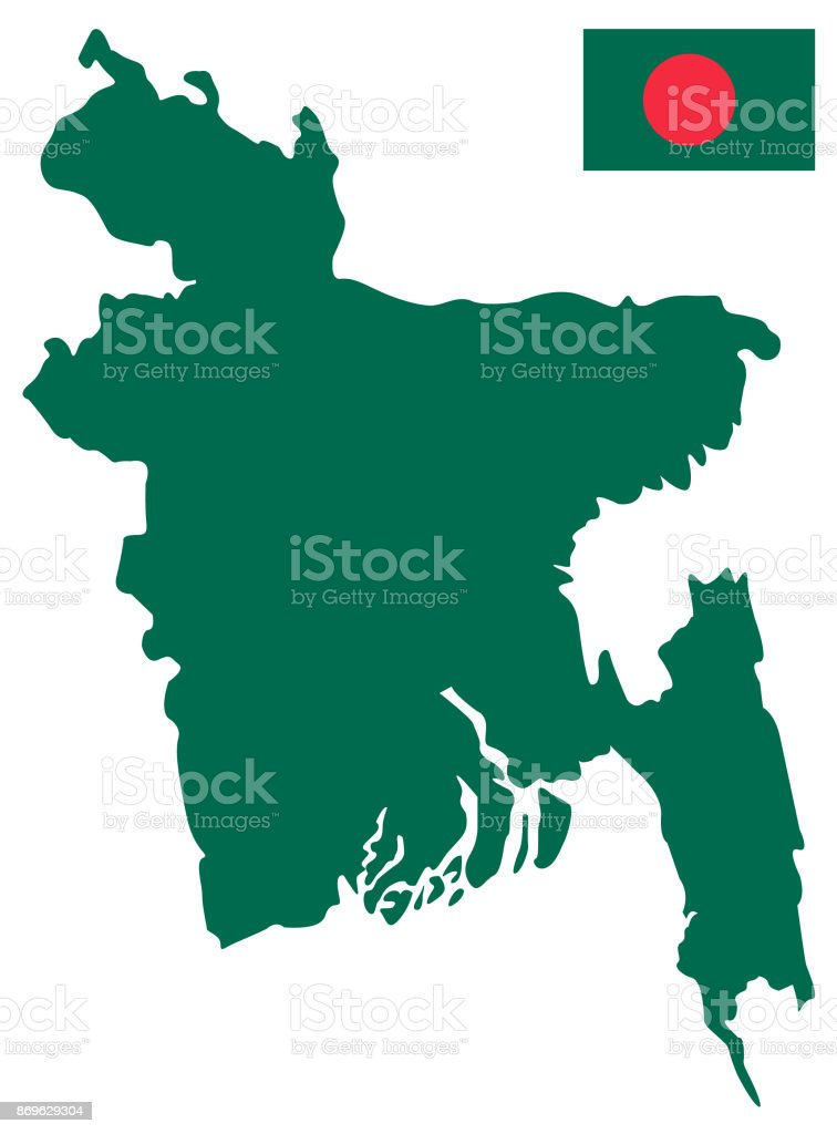 Bangladesh On Map Of Asia.Bangladesh Map And Flag Stock Vector Art More Images Of Asia