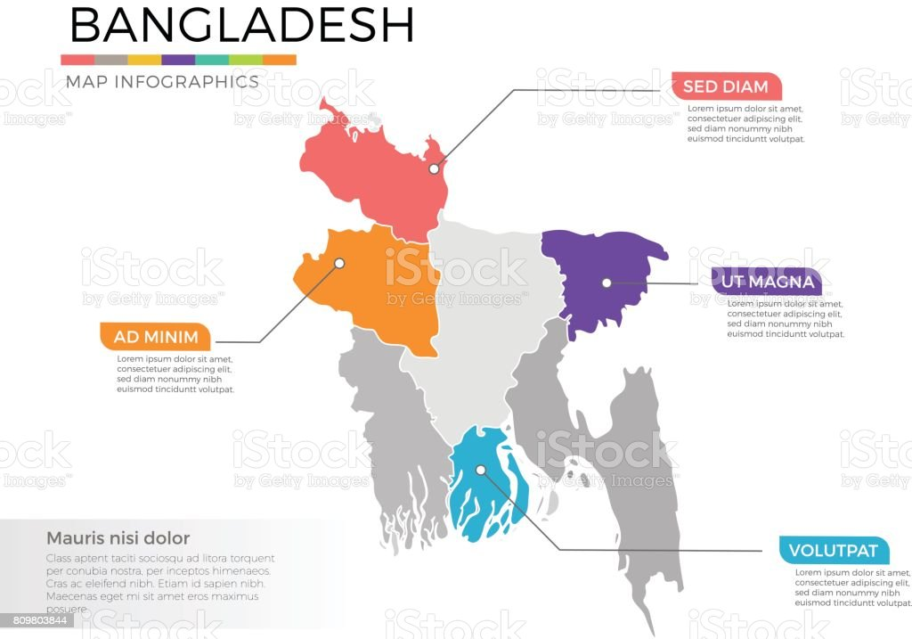 Bangladesh map infographics vector template with regions and pointer marks