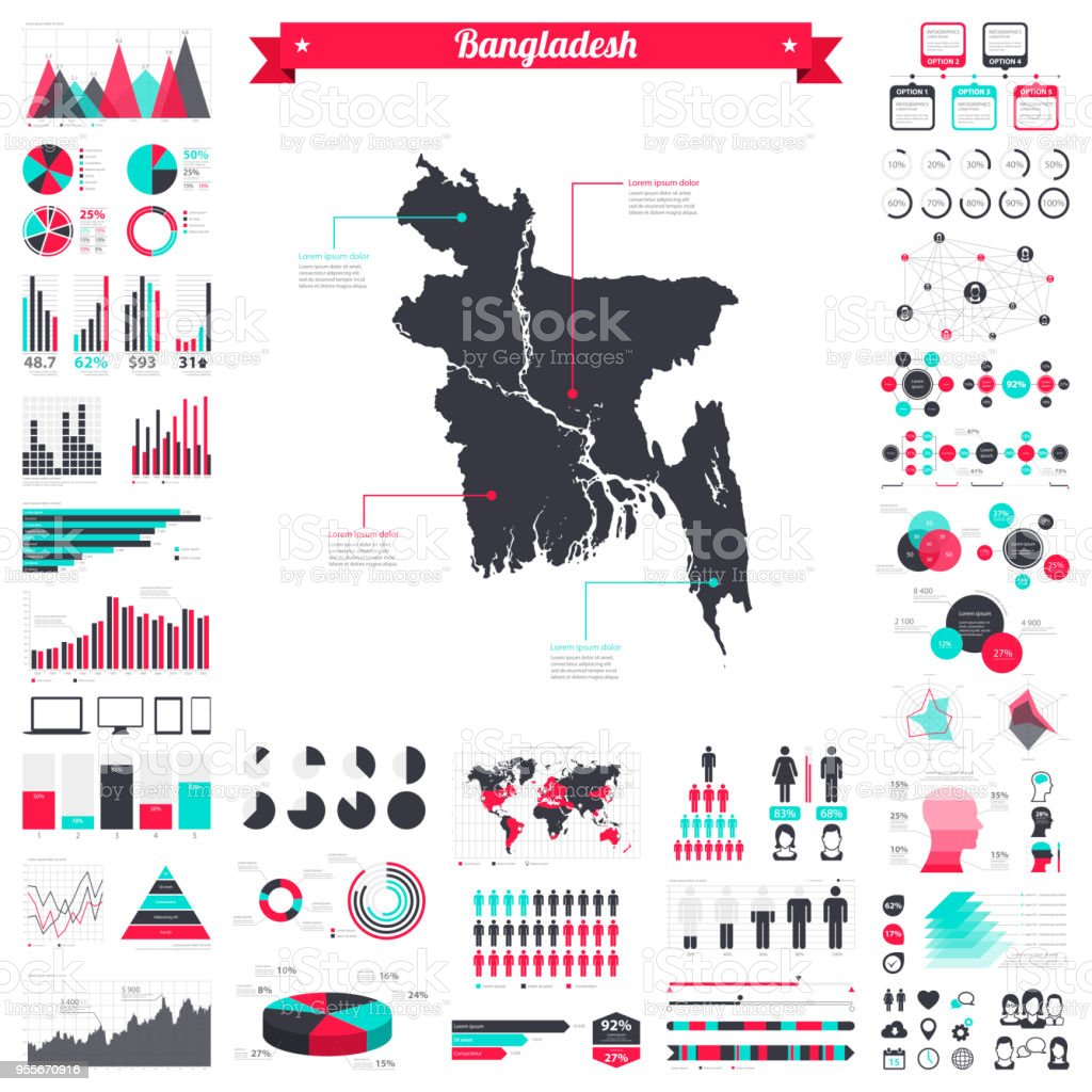 Bangladesh map with infographic elements - Big creative graphic set
