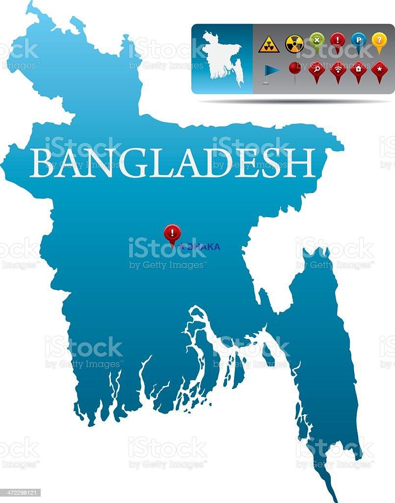 Bangladesh map with navigation icons royalty-free stock vector art