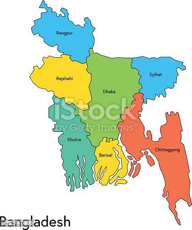 Bangladesh Map With Regions And Names Stock Vector Art More - Bangladesh map