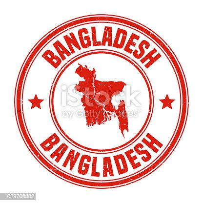 Map of Bangladesh on a red rubber stamp in vintage style. The stamp is composed of the map in the middle with the names around, separated by stars. A grunge texture is added to create a vintage and realistic effect. Vector Illustration (EPS10, well layered and grouped). Easy to edit, manipulate, resize or colorize.