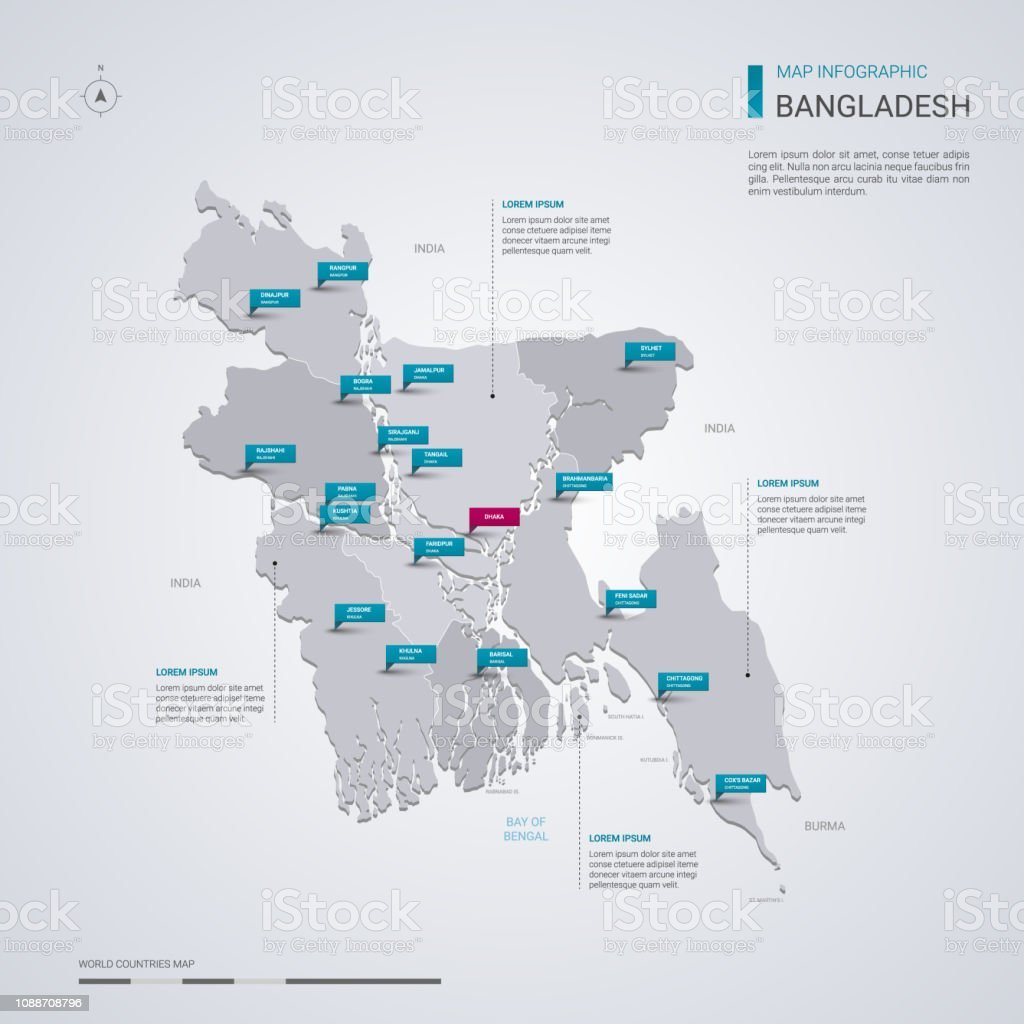 Bangladesh vector map with infographic elements, pointer marks.