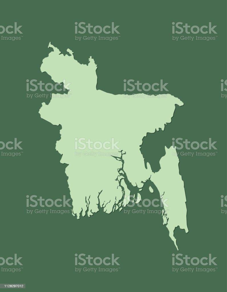 Bangladesh Vector Map With Single Land Area Using Green