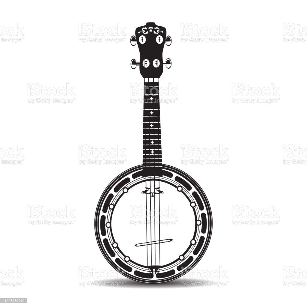 Banjo black and white vector illustration vector art illustration