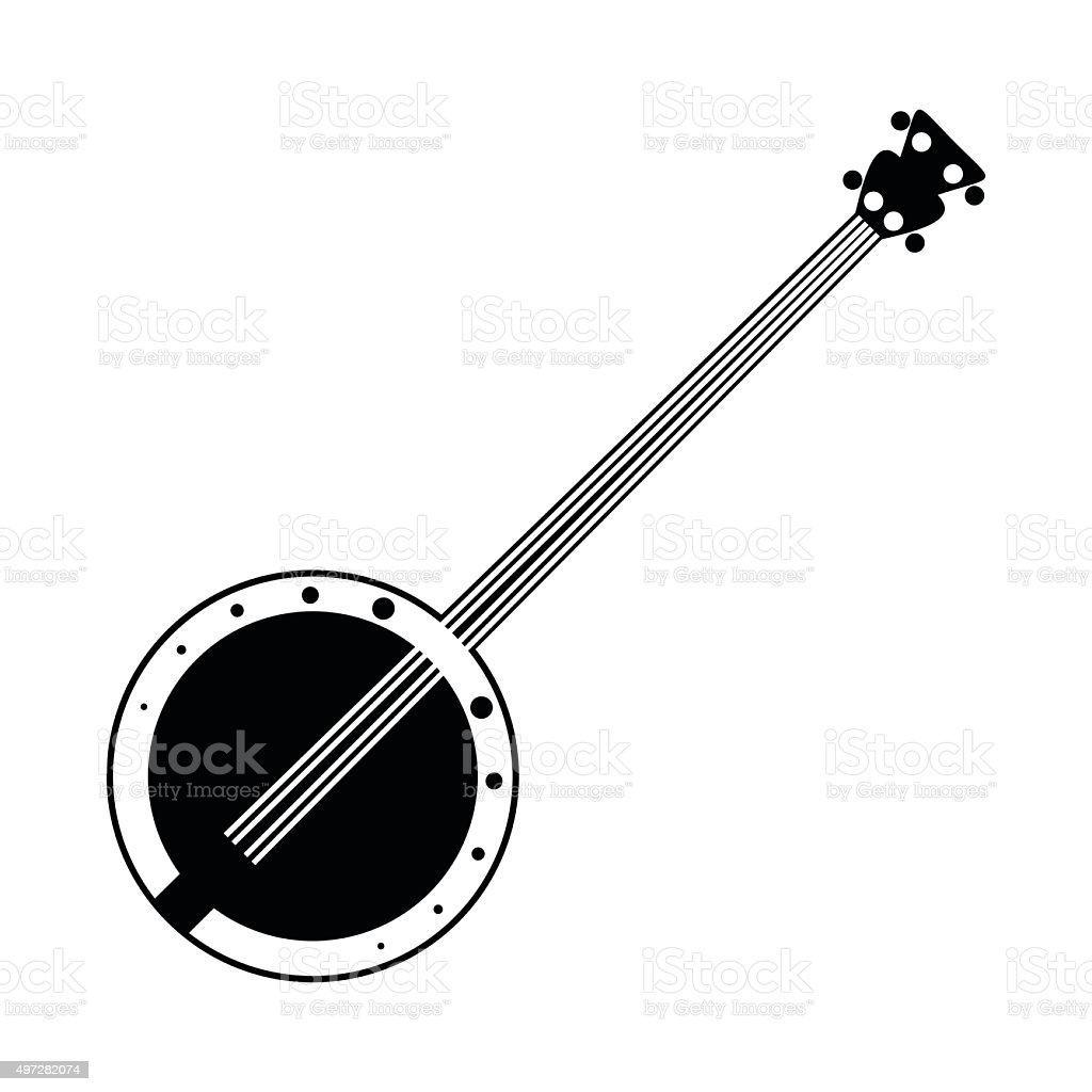 Banjo black icon vector art illustration