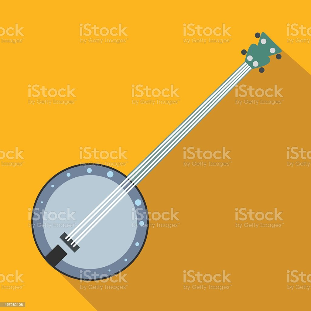 Banjo flat icon vector art illustration