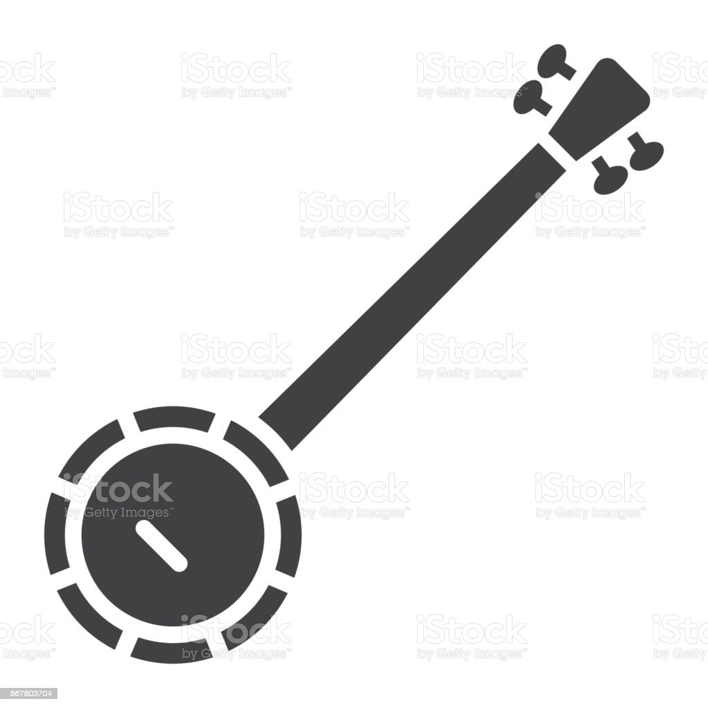 Banjo glyph icon, music and instrument, sound sign vector graphics, a solid pattern on a white background, eps 10. vector art illustration