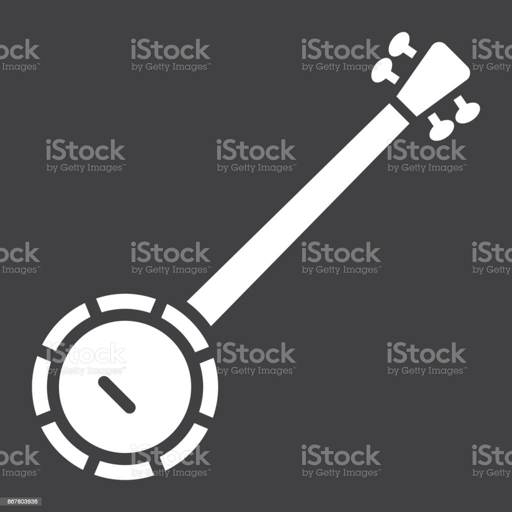 Banjo glyph icon, music and instrument, sound sign vector graphics, a solid pattern on a black background, eps 10. vector art illustration