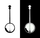Banjo in black and white