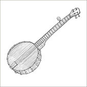 Banjo in Hand-Drawn Style
