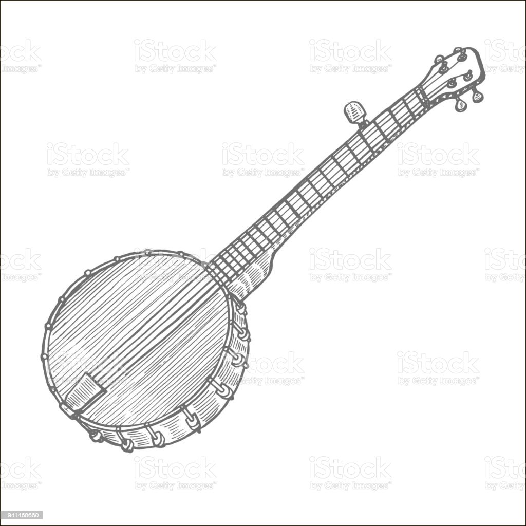 Banjo in Hand-Drawn Style vector art illustration