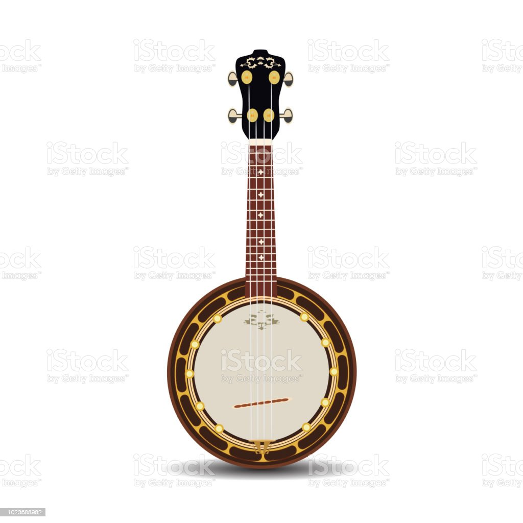 Banjo musical instrument vector flat illustration vector art illustration