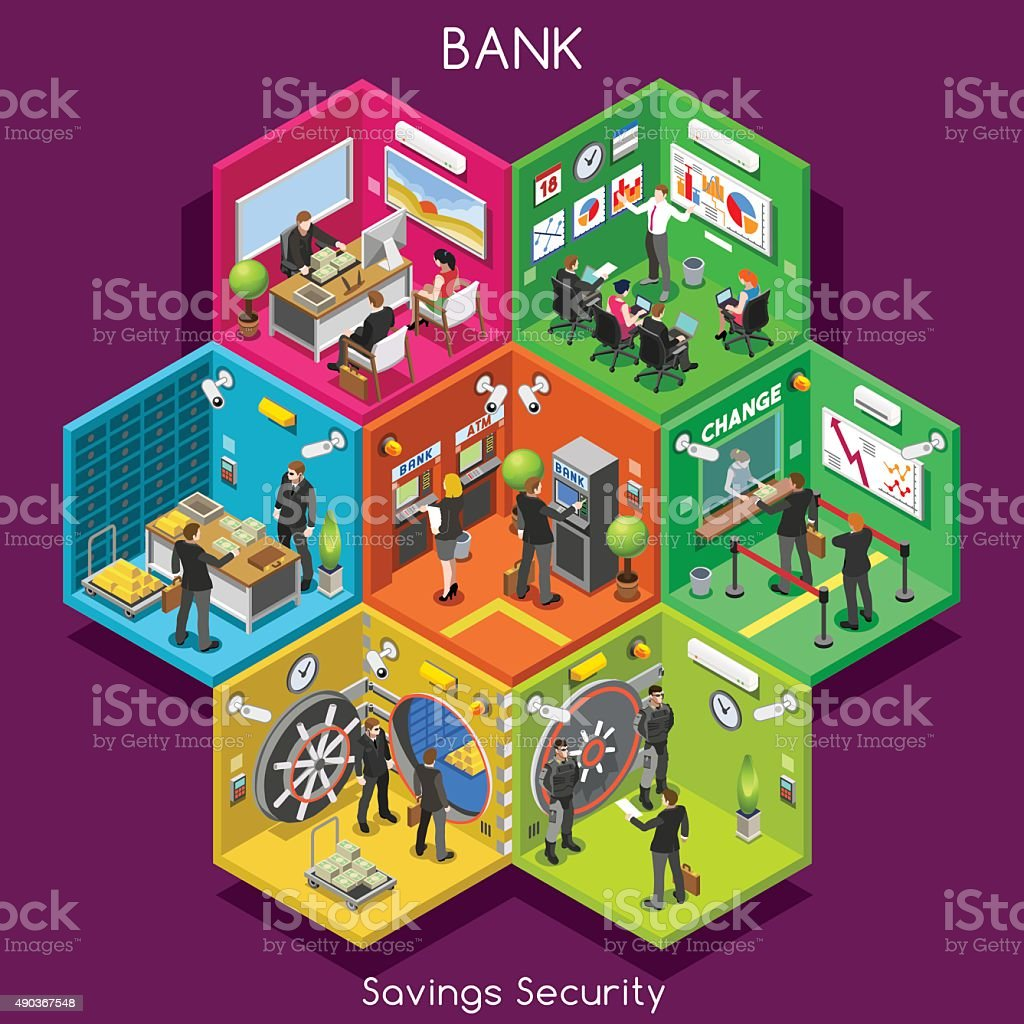 Bank 01 Cells Isometric vektör sanat illüstrasyonu