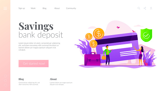 Bank account landing page template