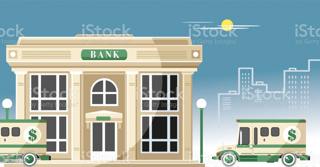 Bank and armored cars vector art illustration