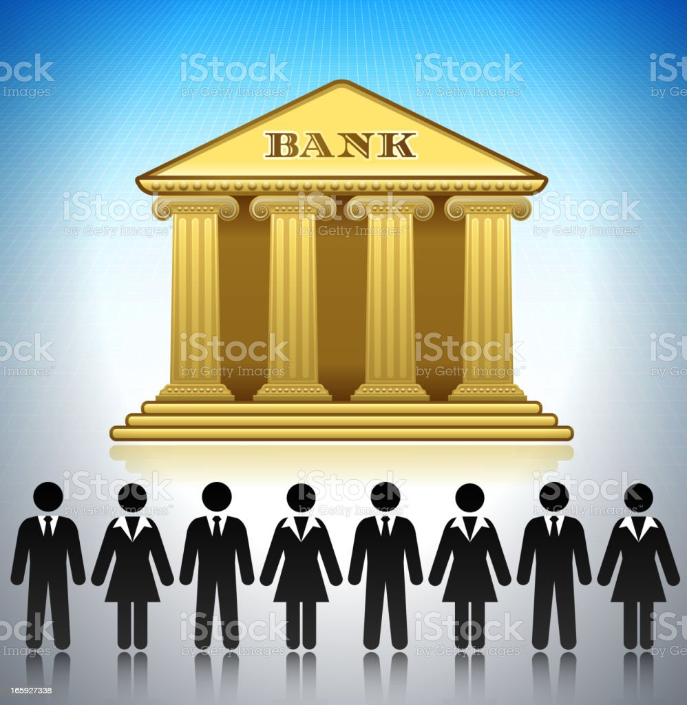 Bank and Bankers Concept Stick Figures vector art illustration
