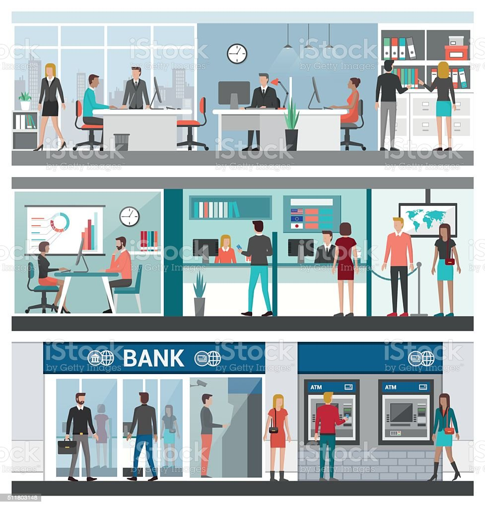 Bank and finance banner set vector art illustration