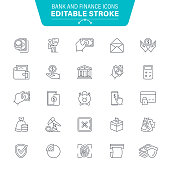 Bank, Currency, Piggy Bank, Credit Card, Wallet, ATM, Editable Stroke Icon Set