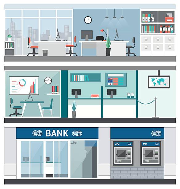 bank, finanzen - rezeptionseingang stock-grafiken, -clipart, -cartoons und -symbole
