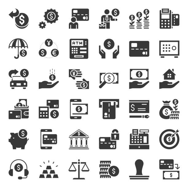 bank and financial icon, solid design - credit card stock illustrations