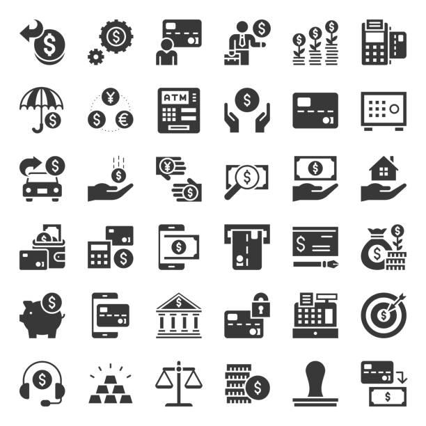 stockillustraties, clipart, cartoons en iconen met bank en financiële pictogram, solide ontwerp - vaste stof