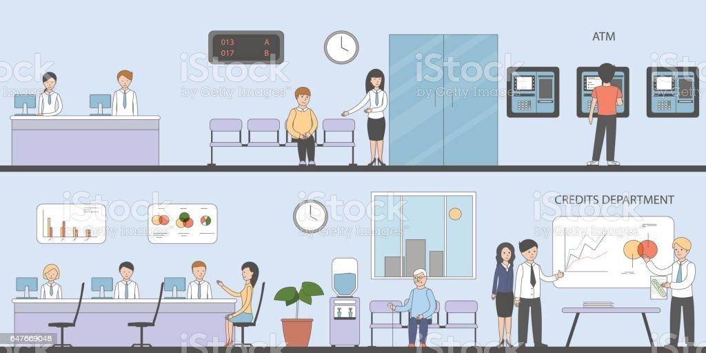 Bank and office interior. vector art illustration