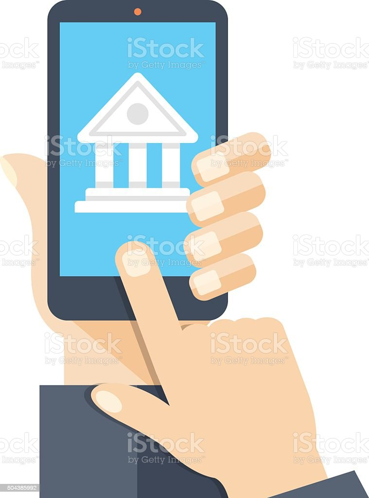 Bank app page on smartphone screen vector art illustration