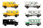Bank armored car and truck set. Bulletproof van. Silhouette. Vector, isolated on white