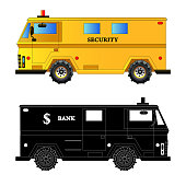 Bank armored car. Bulletproof van. Silhouette. Vector isolated on white background illustration EPS10