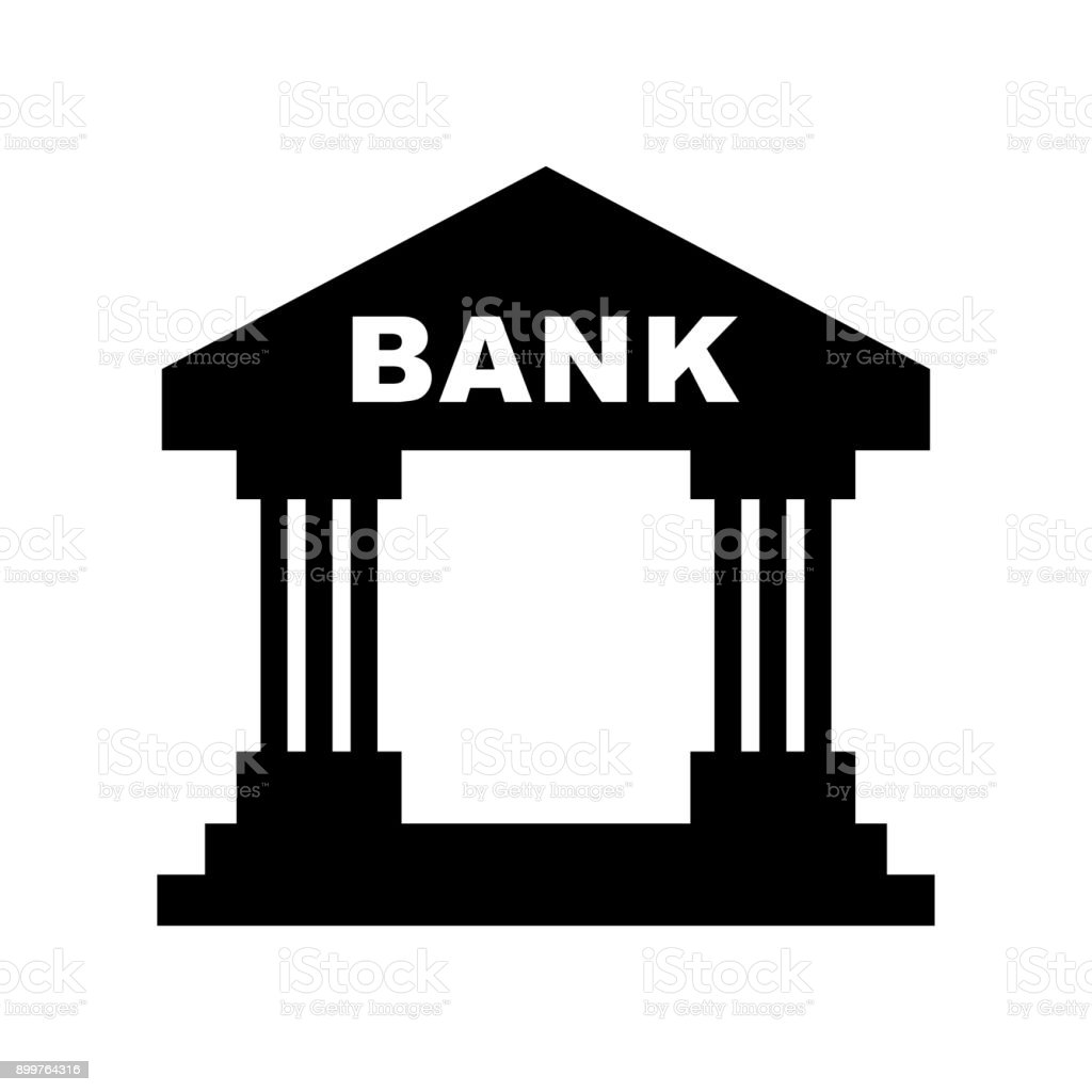 bank black icon vector art illustration