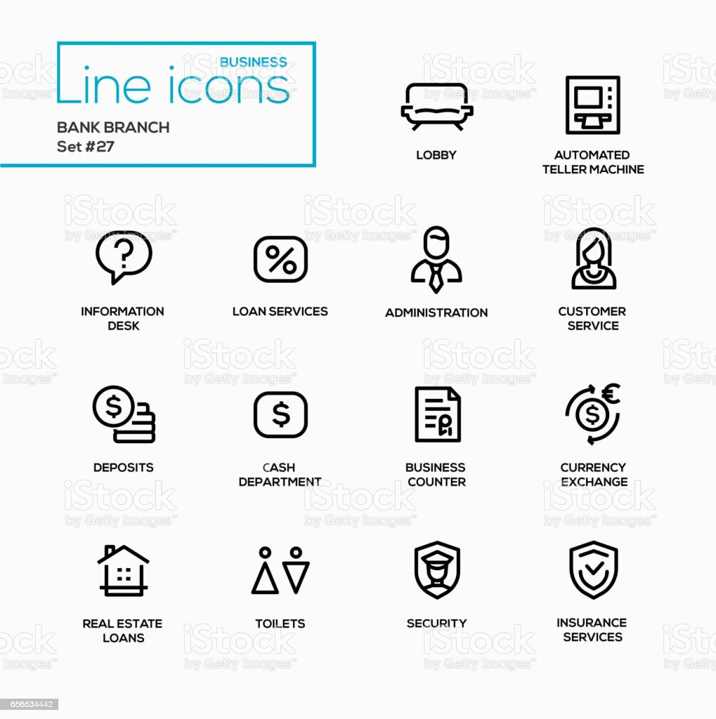 Bank branch - modern vector single line icons set. vector art illustration