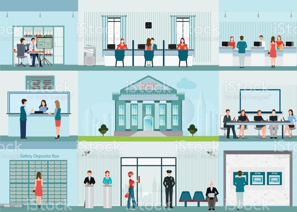 Infográfico de edifício e finanças com o escritório do banco. - ilustração de arte em vetor