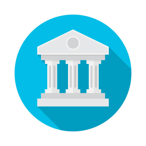 bank building circle icon with long shadow. flat design style. - bank stock illustrations