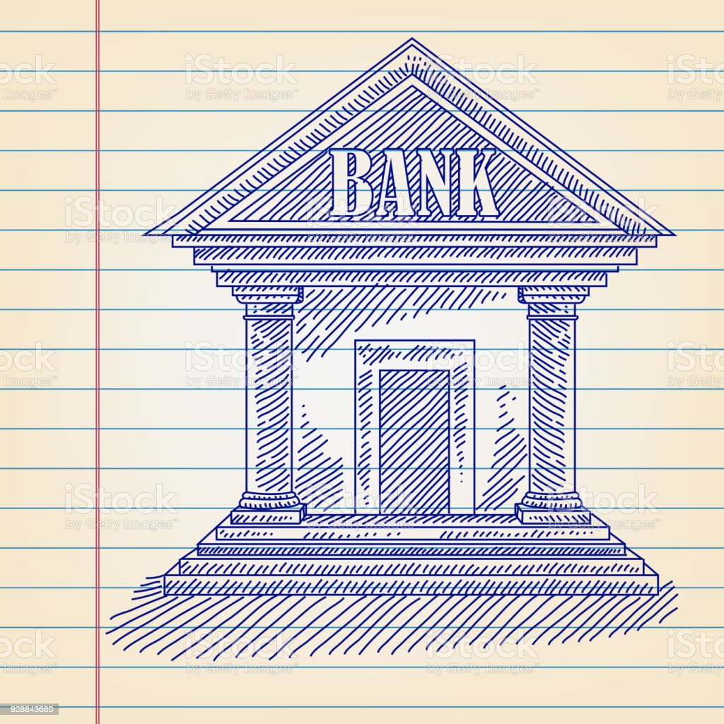 Bank Building Drawing On Lined Paper Royalty Free Stock
