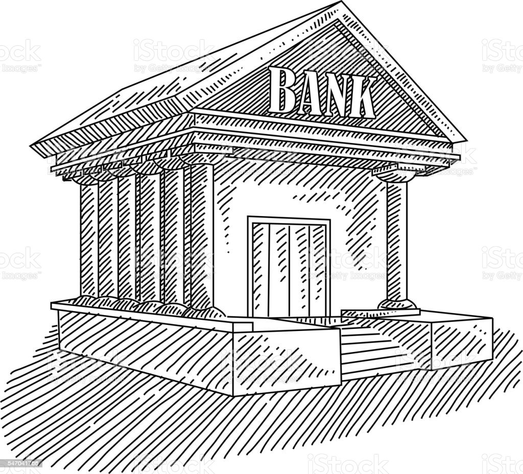 Bank Building Drawing Royalty Free Stock Vector Art Amp More Images