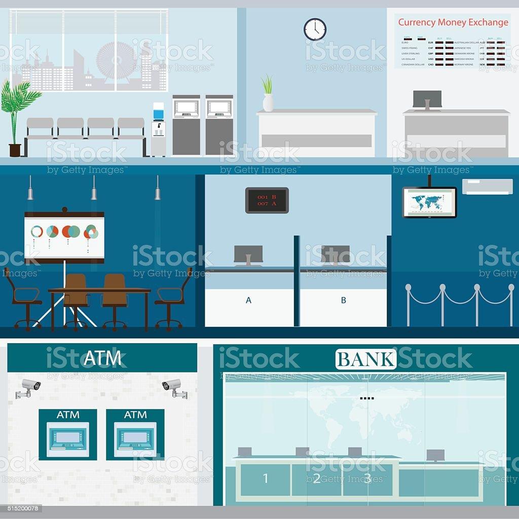Bank building exterior and interior counter desk. vector art illustration