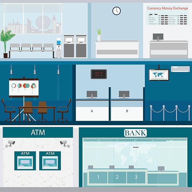 Bank building exterior and interior counter desk. vektör sanat illüstrasyonu
