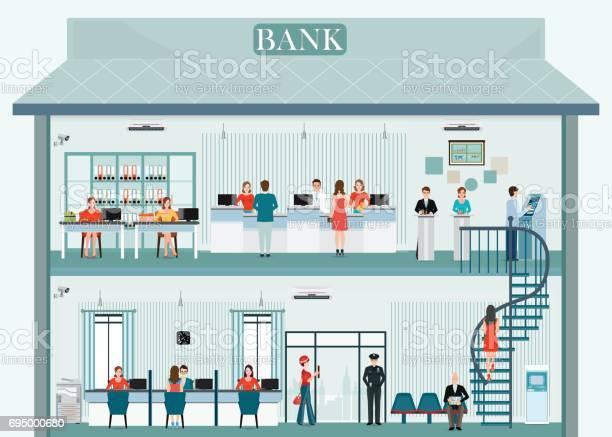 Bank building exterior and interior with counter service vector id695000680?b=1&k=6&m=695000680&s=612x612&h=koazssa1vjbhzdttma hgca1ovhqmm xssluqyonbey=