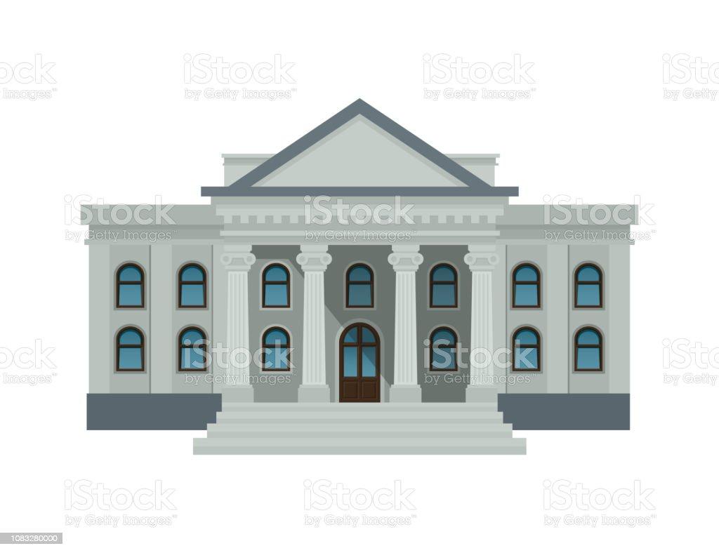 Bank byggnad fasad, universitet eller regeringen. Offentlig byggnad med höga kolumner isolerad på vit bakgrund. Platt stil vektorillustration. Eps10. - Royaltyfri Arkitektonisk kolonn vektorgrafik