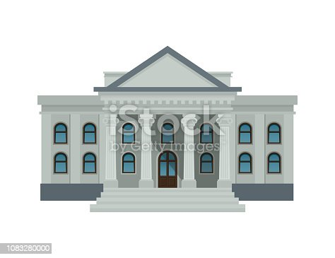 Bank building facade, university or government institution. Public building with high columns isolated on white background