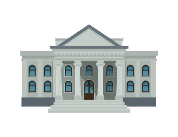bank building facade, university or government institution. public building with high columns isolated on white background. flat style vector illustration. eps10. - bank stock illustrations