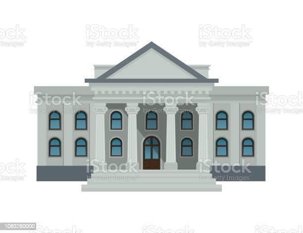 Bank Byggnad Fasad Universitet Eller Regeringen Offentlig Byggnad Med Höga Kolumner Isolerad På Vit Bakgrund Platt Stil Vektorillustration Eps10-vektorgrafik och fler bilder på Arkitektonisk kolonn