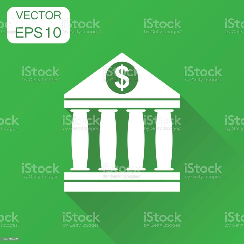 Bank building icon. Business concept bank pictogram. Vector illustration on green background with long shadow. vector art illustration