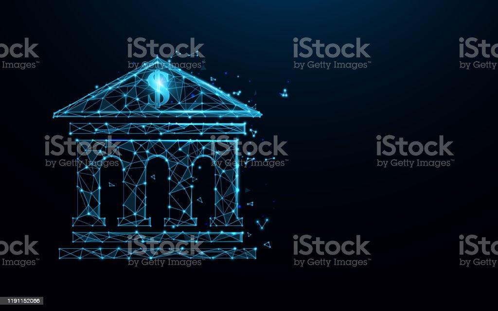 銀行建築圖示形成線條、三角形和粒子樣式設計。插圖向量 - 免版稅Low-Poly-Modelling圖庫向量圖形