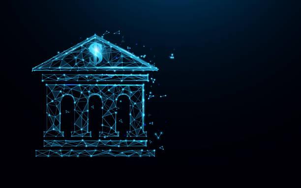 ilustrações, clipart, desenhos animados e ícones de linhas de forma de ícone de construção bancária, triângulos e design de estilo de partícula. vetor da ilustração - banco edifício financeiro