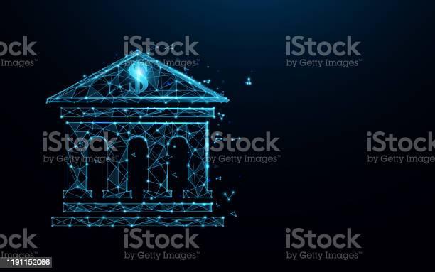 銀行建築圖示形成線條三角形和粒子樣式設計插圖向量向量圖形及更多Low-Poly-Modelling圖片