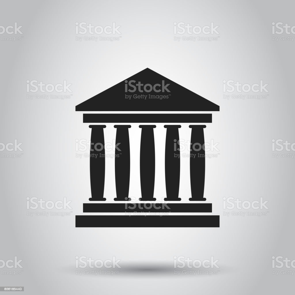 Bank building icon in flat style. Museum vector illustration on gray background. vector art illustration