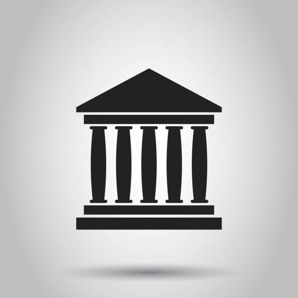 Bank building icon in flat style. Museum vector illustration on gray background. Bank building icon in flat style. Museum vector illustration on gray background. financial building stock illustrations
